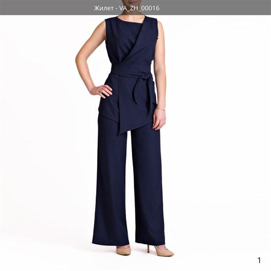 Жилет синий асимметричной длины под пояс - фото 4764