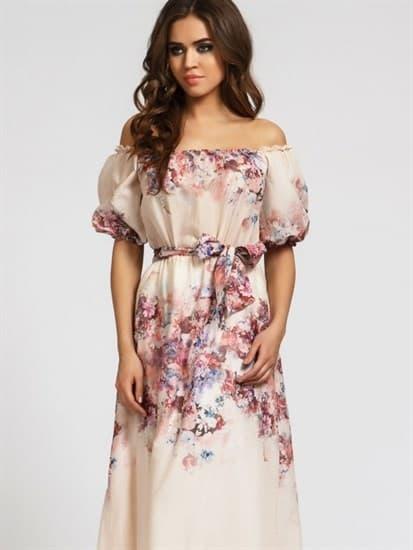 Платье макси  Кармен-цветы - фото 4806