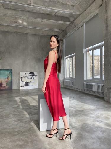 Платье-комбинация Ярко-алый - фото 7124