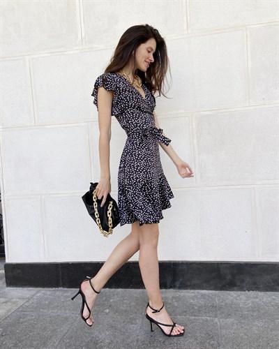 "Платье на запах ""Barselona mini"" черный леопард - фото 7622"