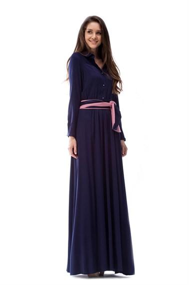 Платье - рубашка синяя