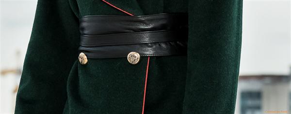 Пояс - кушак  кожаный черный