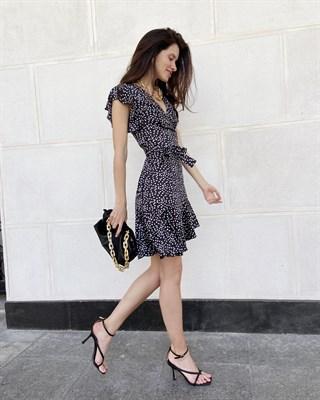 "Платье на запах ""Barselona mini"" черный леопард"